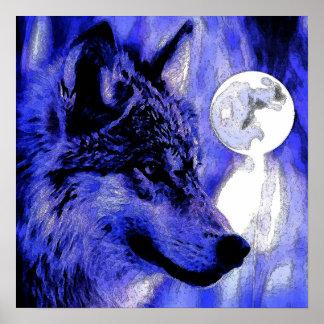 Grey Wolf & Moon Poster Print