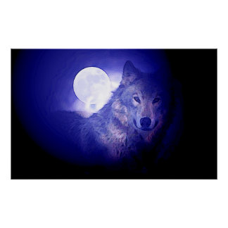 Grey Wolf & Moon Poster Print - Blue Night Wolves
