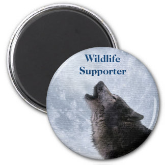Grey Wolf & Moon Wildlfie Supporter Art Magnet