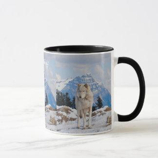 Grey Wolf & Mountain Wildlife Art Drinking Mug