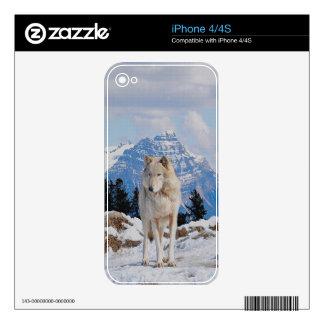 Grey Wolf & Mountains Wildlife Art iPhone 4 Skin
