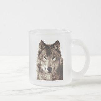 Grey Wolf 10 Oz Frosted Glass Coffee Mug