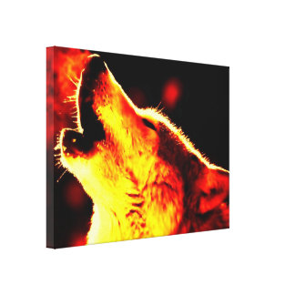 Grey Wolf & Night Wrapped Canvas
