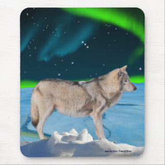 Grey Wolf & Northern Lights Fantasy Mousepad