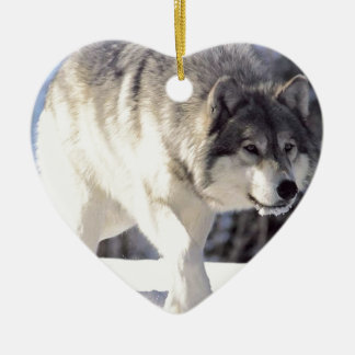 Grey Wolf On The Prowl Christmas Tree Ornaments