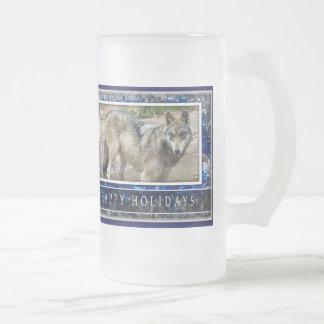 Grey Wolf or Wolves Christmas cup mug