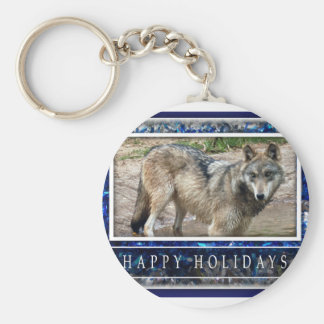 Grey Wolf or Wolves Christmas Keychain