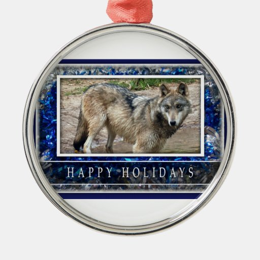 Grey Wolf or Wolves Christmas Ornament Round