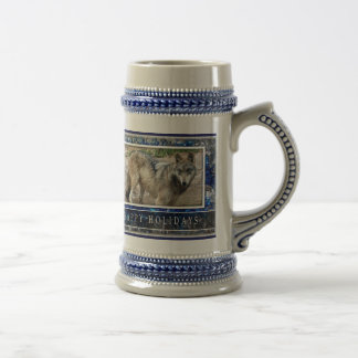 Grey Wolf or Wolves Christmas stein