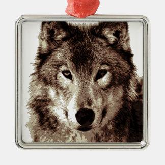 Grey Wolf Square Metal Christmas Ornament