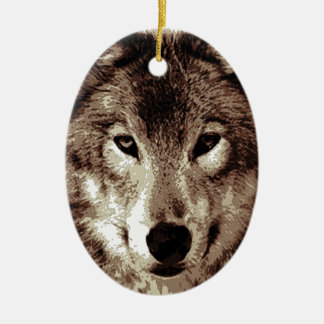 Grey Wolf Double-Sided Oval Ceramic Christmas Ornament