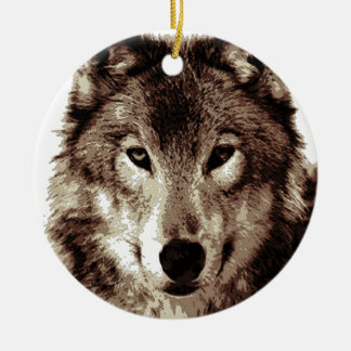 Grey Wolf Double-Sided Ceramic Round Christmas Ornament