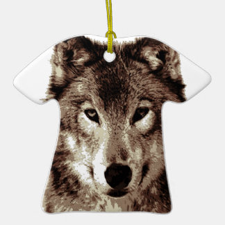 Grey Wolf Double-Sided T-Shirt Ceramic Christmas Ornament