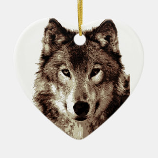 Grey Wolf Double-Sided Heart Ceramic Christmas Ornament