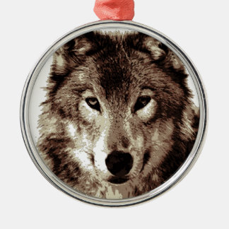 Grey Wolf Round Metal Christmas Ornament