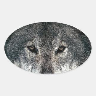 Grey Wolf Oval Sticker