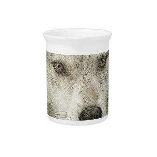 Grey Wolf Pencil Sketch Wildlife Art Gift Beverage Pitchers