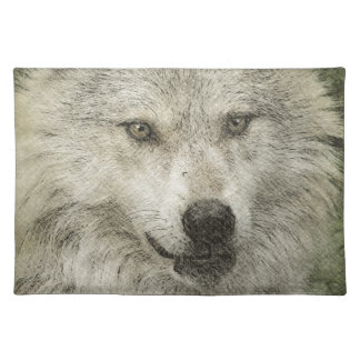 Grey Wolf Pencil Sketch Wildlife Art Gift Placemats