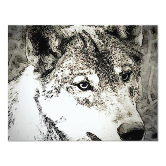 Grey Wolf Portrait 4.25x5.5 Paper Invitation Card