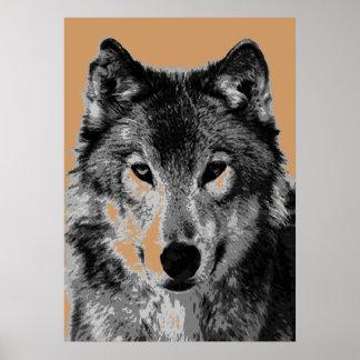 Grey Wolf Portrait Motivational Freedom Poster