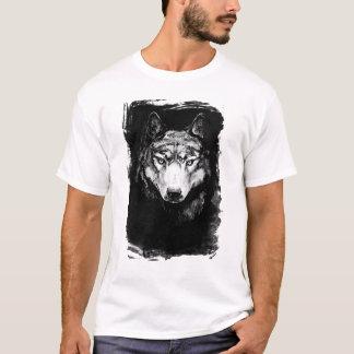 Grey Wolf Portrait on the Grunge BG T-Shirt