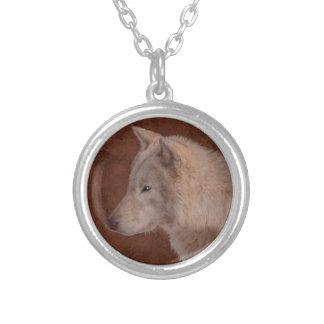 Grey Wolf Portrait Wildlife Art Silver Plated Necklace