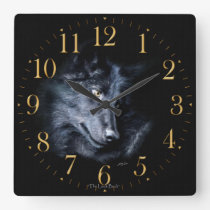 Grey Wolf Portrait Wildlife-Supporter Art Clock