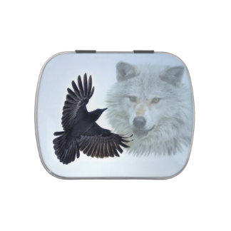 Grey Wolf & Raven Wildlife Art Jelly Belly Candy Tin