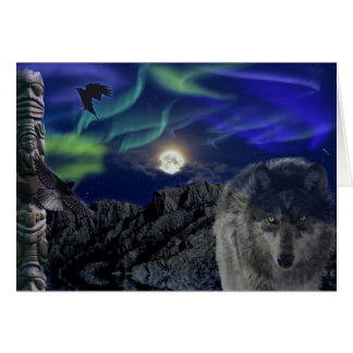 Grey Wolf, Ravens & Aurora Greeting-card Card