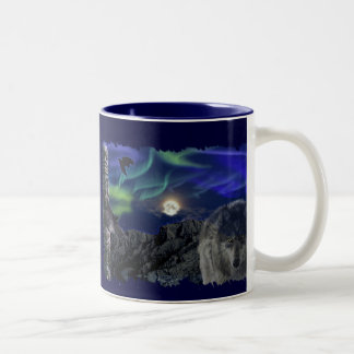 Grey Wolf, Ravens & Aurora & Totem Wildlife Mug