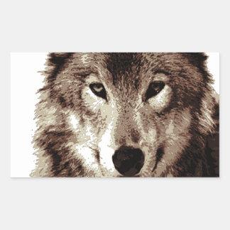 Grey Wolf Rectangular Sticker