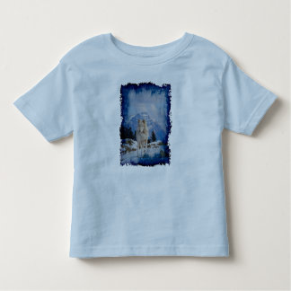 Grey Wolf & Rocky Mountains Wildlife Art T-Shirt