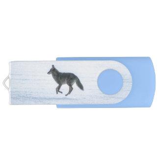 Grey Wolf Running Across Frozen Lake #Gift Swivel USB 3.0 Flash Drive