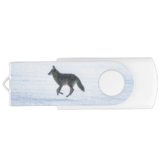 Grey Wolf Running Across Frozen Lake #Gift Swivel USB 2.0 Flash Drive