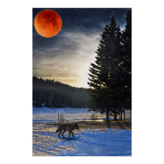 Grey Wolf, Snow, Blood Moon & Lake Wildlife Art Poster