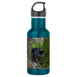 Grey Wolf Stalking in Forest Wildlife Photo Stainless Steel Water Bottle