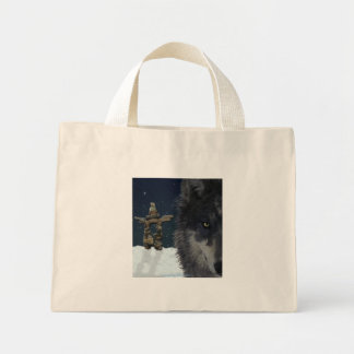 GREY WOLF, STARS & INUKSHUK Carry-Bag Collection Mini Tote Bag