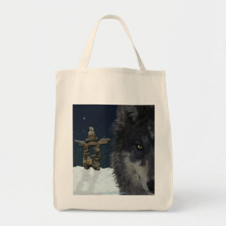 GREY WOLF, STARS & INUKSHUK Carry-Bag Collection Tote Bag