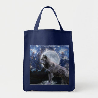 GREY WOLF, STARS & MOON Carry-Bag Collection Tote Bag