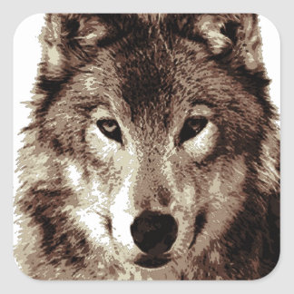 Grey Wolf Square Sticker