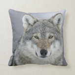 "Grey Wolf Throw Pillow<br><div class=""desc"">This cushion featuring a European Grey Wolf with snow flakes is ideal as a gift or as a feature in your home</div>"