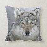 Grey Wolf Throw Pillows