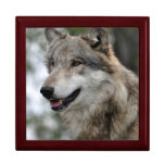 Grey Wolf Tile Box Jewelry Boxes