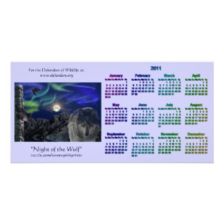 Grey Wolf & Totem Wildlife 2011 Pocket Calendars Card