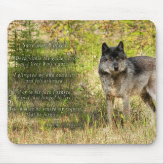 Grey Wolf & Wilderness Photo Gift Mousepad
