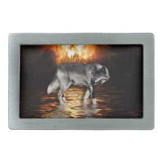 Grey Wolf & Wildfire Survivor Belt Buckle