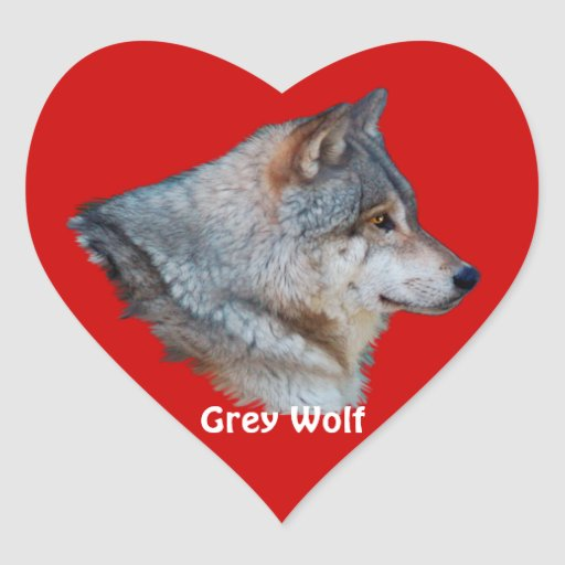 GREY WOLF Wildlife Heart Sticker Collection