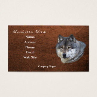 Grey Wolf Wildlife Leather-effect Business Card