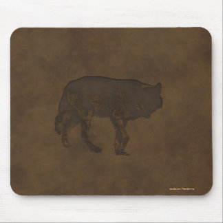 Grey Wolf Wildlife-lover's Leather-look Design Mouse Pad