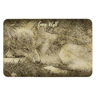 Grey Wolf Wildlife Portrait on a Flexi Magnet